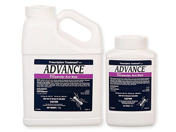 Two bottles of Advance Carpenter Ant Granular Bait in two different sizes