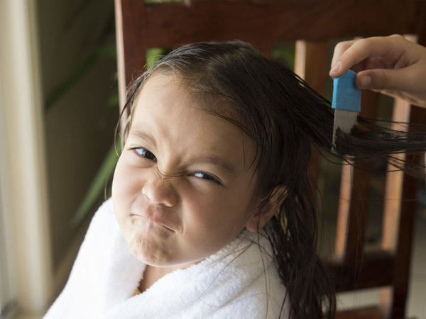 Little girl with unhappy expression being treated for head lice